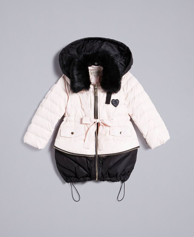 "Two-tone padded jacket Bicolour ""Blush"" Pink / Black Child FA82AN-01"
