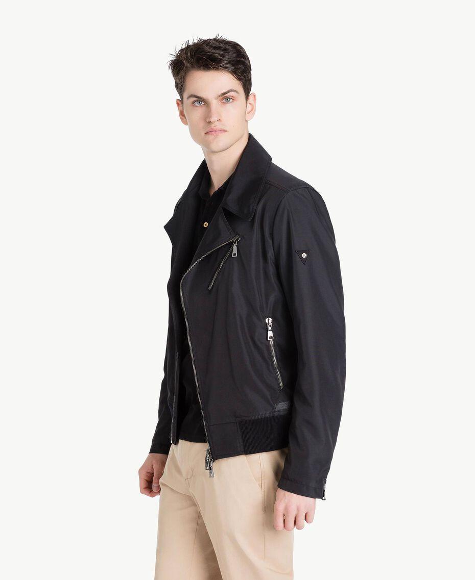 Technical fabric biker jacket Black Man US8232-02