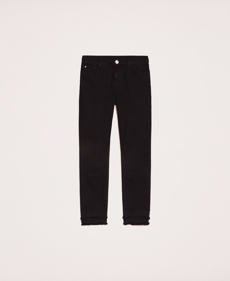 Skinny trousers with frayed hem Black Woman 201MP2301-0S
