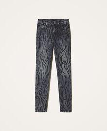 Animal print push-up jeans with studs Black Denim Woman 202MP2221-0S