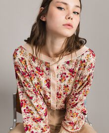 "Floral cardigan-top with feathers and rhinestones ""Blossom"" Pink Bouquet Print Woman 191TP3415-05"