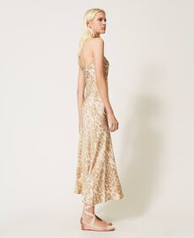 """One-shoulder satin dress with animal print """"Dune"""" Beige Animal Print Woman 202MP243A-03"""