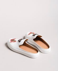 Leather mules with butterfly patches White Woman 191TCP10G-05