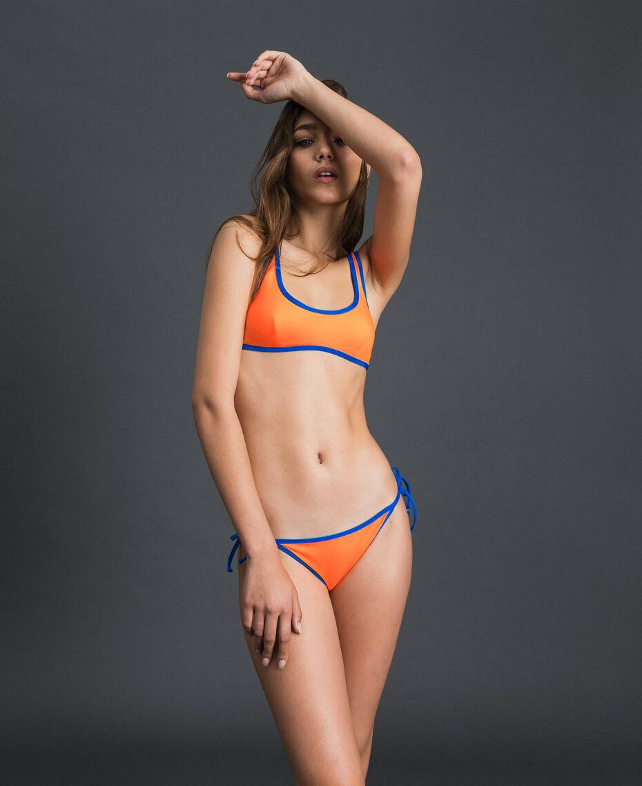 Reversible bikini Fluorescent Orange / Fluorescent Blue Woman 191TQM023-02