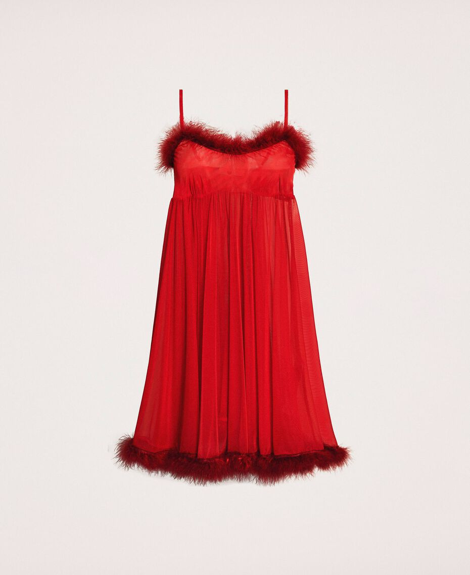 Tulle babydoll dress with feathers Pomegranate Red Woman 201LL23XX-0S