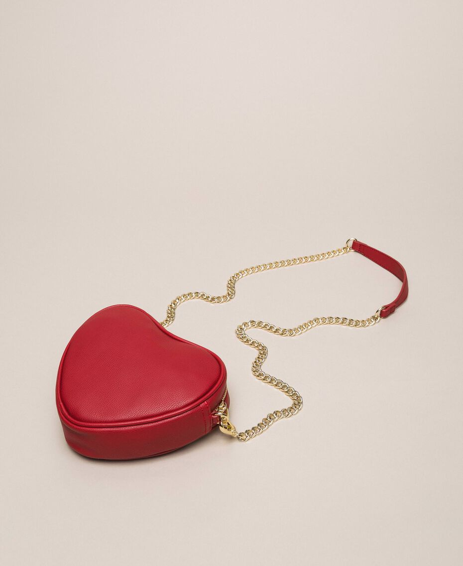 Faux leather heart shaped shoulder bag Venetian Red Woman 201MA7053-03
