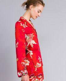 Floral print satin shirt Red Garden Print Woman PA829R-02