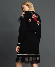 Maxi cardigan with floral jacquard and embroidery Black Woman 192TP3322-06