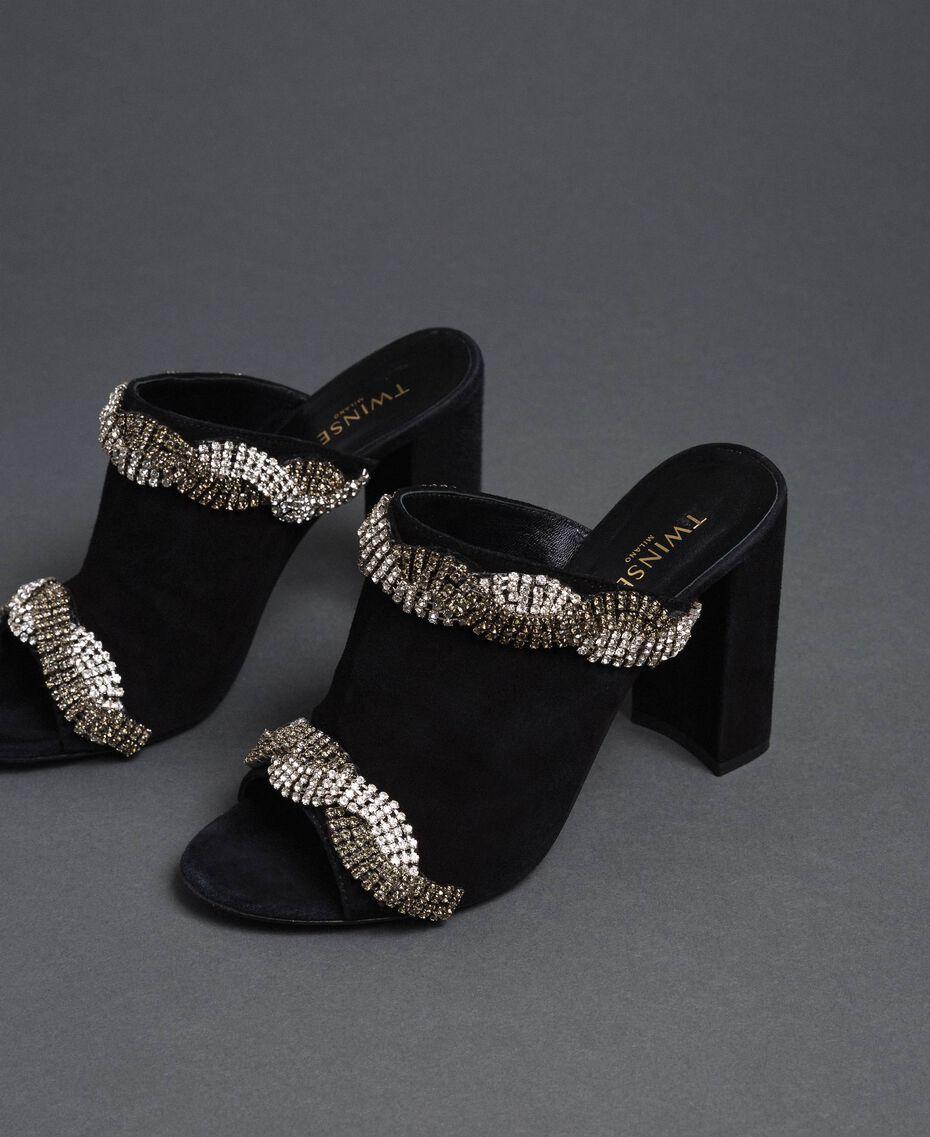 Scarpe mules in pelle scamosciata con strass Nero Donna 192TCP12A-02