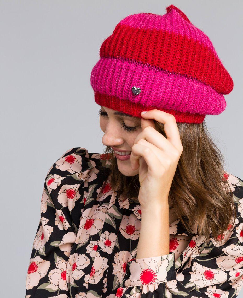 Bonnet à rayures bicolores Bicolore Rouge Coquelicot / Fuchsia Cerise Femme RA8T2K-0S