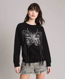 Butterfly embroidery and fringe sweatshirt Black Woman 191TP2590-03