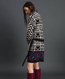 """Jacquard knit coat with fringes """"Snow"""" White Jacquard/ Black Woman 192TT3161-02"""