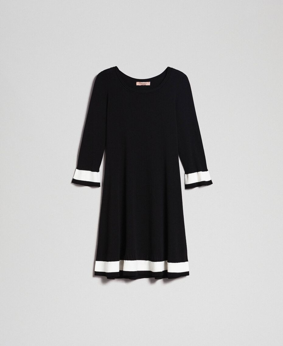 "Contrasting band dress Black / ""Papyrus"" White Woman 192TP3102-0S"