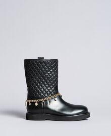 Stivali in pelle con catena charms Nero Donna CA8PLW-02