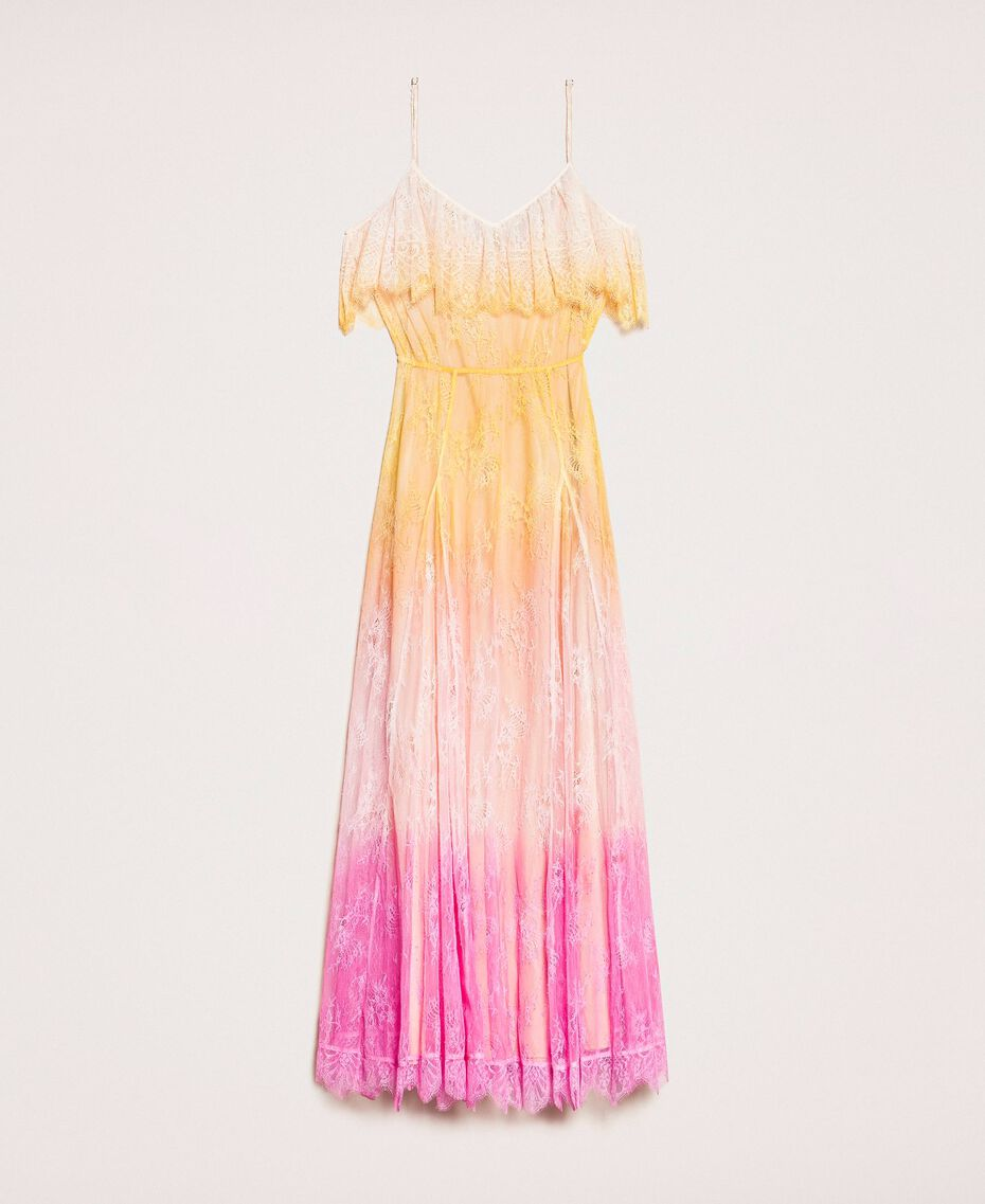 Tie-dye lace long dress Multicolour Tie Dye Pink Woman 201TT2282-0S