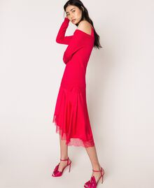 Knit dress with slip effect satin Black Woman 201TP3070-03