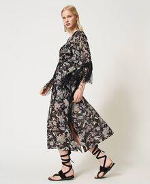 Muslin floral kaftan dress Black Indian Flower Print Woman 211TT2683-02