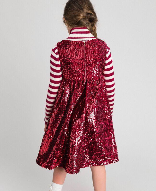 Abito in velluto con paillettes Rosso Ruby Wine Bambina 192GJ2091-03