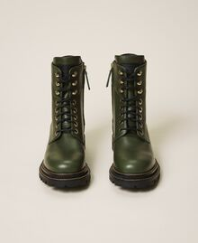 Tie-up leather combat boots Dark Olive Green Woman 202TCP182-05