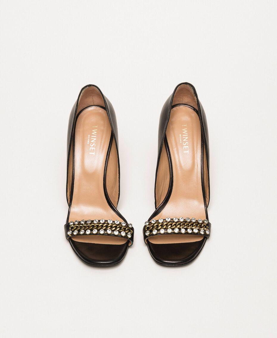 Sandalette mit Stilettoabsatz und Chatons Schwarz Frau 201TCP090-05