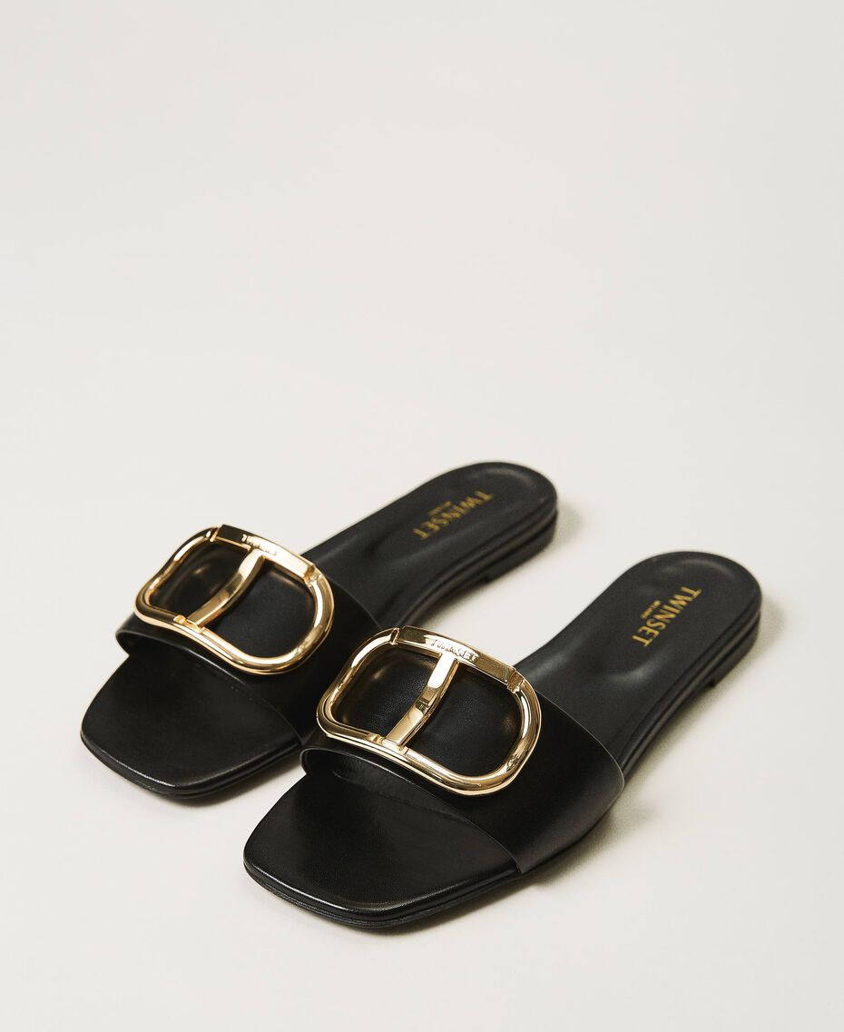 Sandalias slide de piel con logotipo Negro Mujer 211TCT014-01