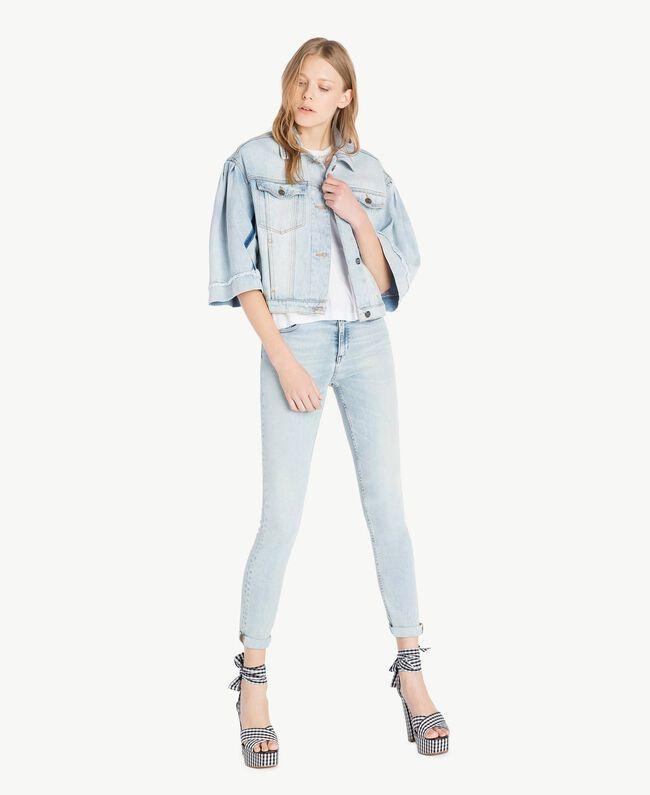 Cropped denim jacket Denim Blue Woman JS82T5-05