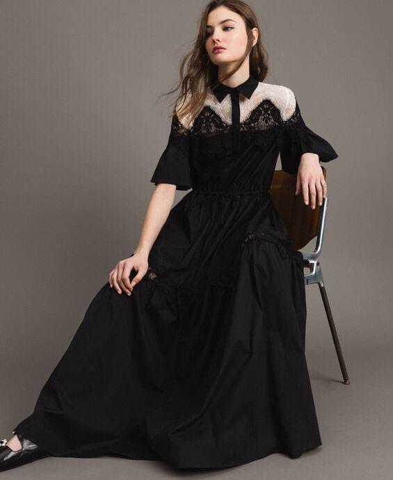 Robe chemise longue en popeline ornée de dentelle