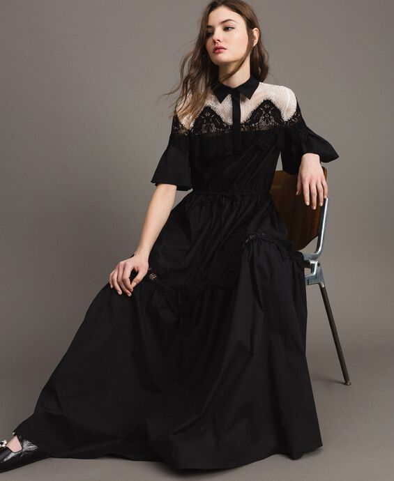 Poplin long shirt dress with lace