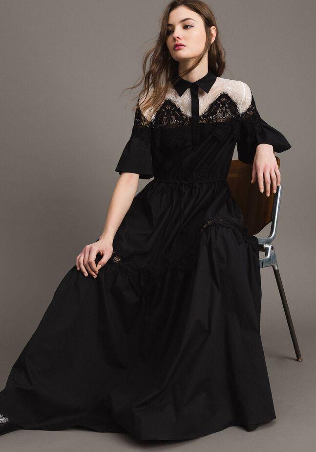 Popeline-Maxi-Hemd-Kleid mit Spitze