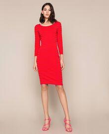 Robe fourreau dos nu à rayures Rayé Rouge «Griotte» / Rouge «Jaspe» Femme 201TP306A-03