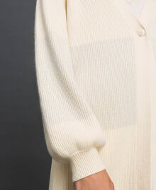 """Maxi cardigan with lurex band and brooch """"Creamy"""" White Striped / Silver Woman 192ST3081-04"""