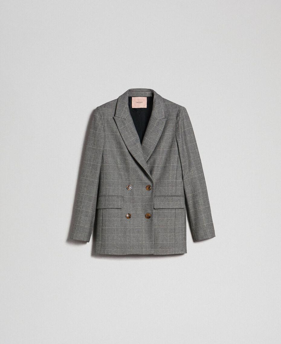 Glen plaid double breasted jacket Lurex Dark Grey Wales Design Woman 192TT2443-0S