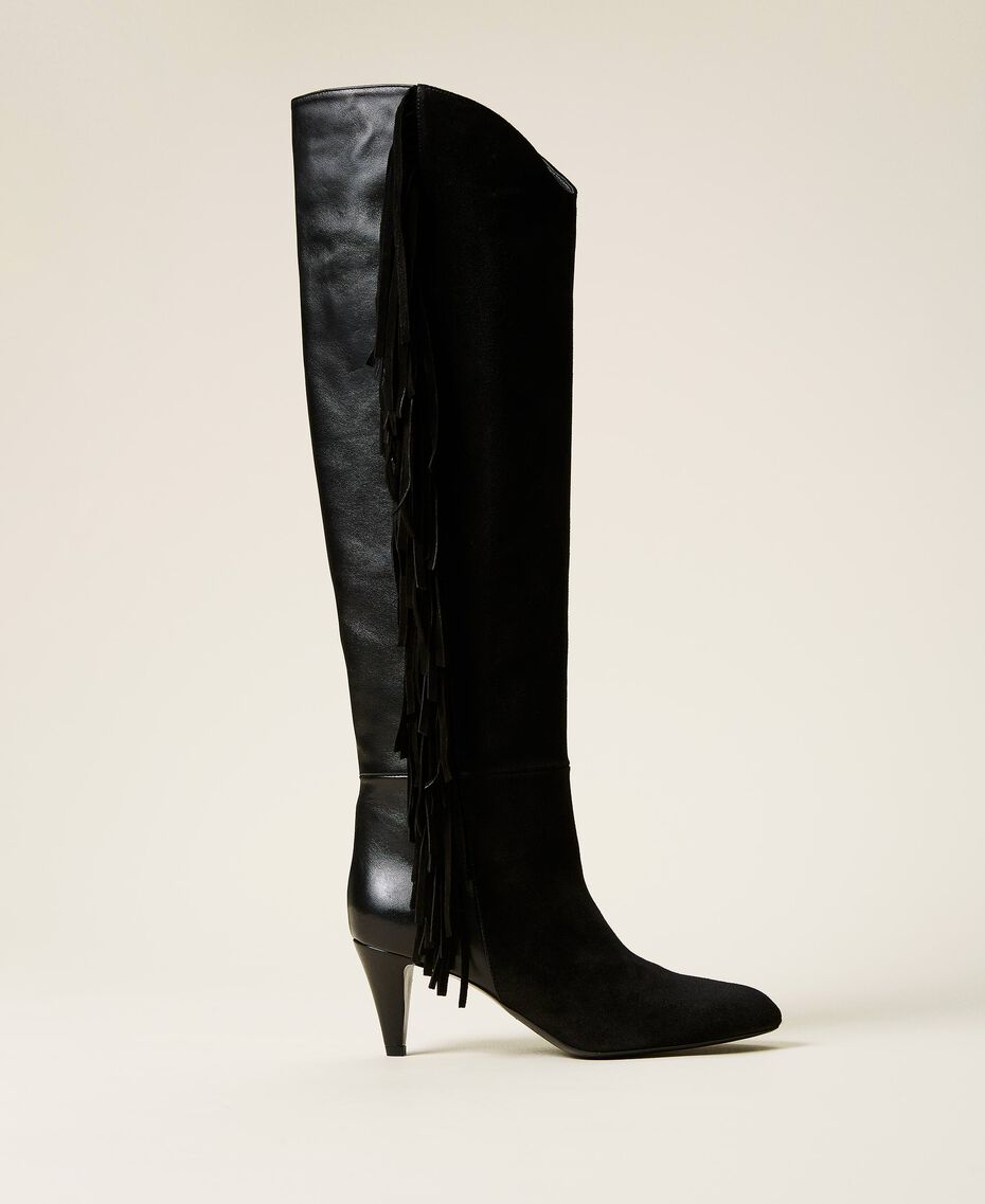 Leather high boots with fringes Black Woman 212TCP10C-01