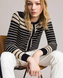 Viscose and lurex striped mandarin collar top Light Gold Lurex / Deep Blue Striping Woman 191TP3232-04