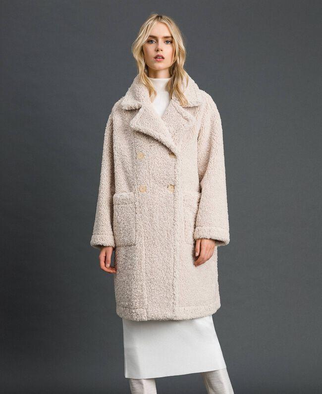 Manteau réversible en faux mouton Blanc «Vanille» / Crème Caramel Femme 192MT2020-05
