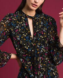 Asymmetrisches Kleid mit Blumenprint Mikroblumenprint Schwarz Frau 192MP2226-04