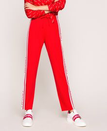 Baskets en cuir avec bande siglée Multicolore Blanc Opaque / Rouge «Géranium» / Rose «Jazz» Femme 201TCT064-0S
