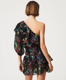 """Rigel"" printed georgette one-shoulder top Black ""Spots"" Multicolour Woman 211MT2653-04"