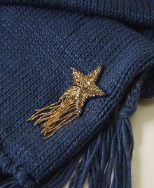Écharpe avec patch d'étoile et franges Bleu «True Navy» Femme 202TA440C-03