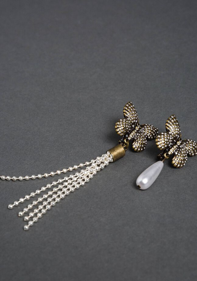 Boucles d'oreilles clip avec papillons et pendentifs