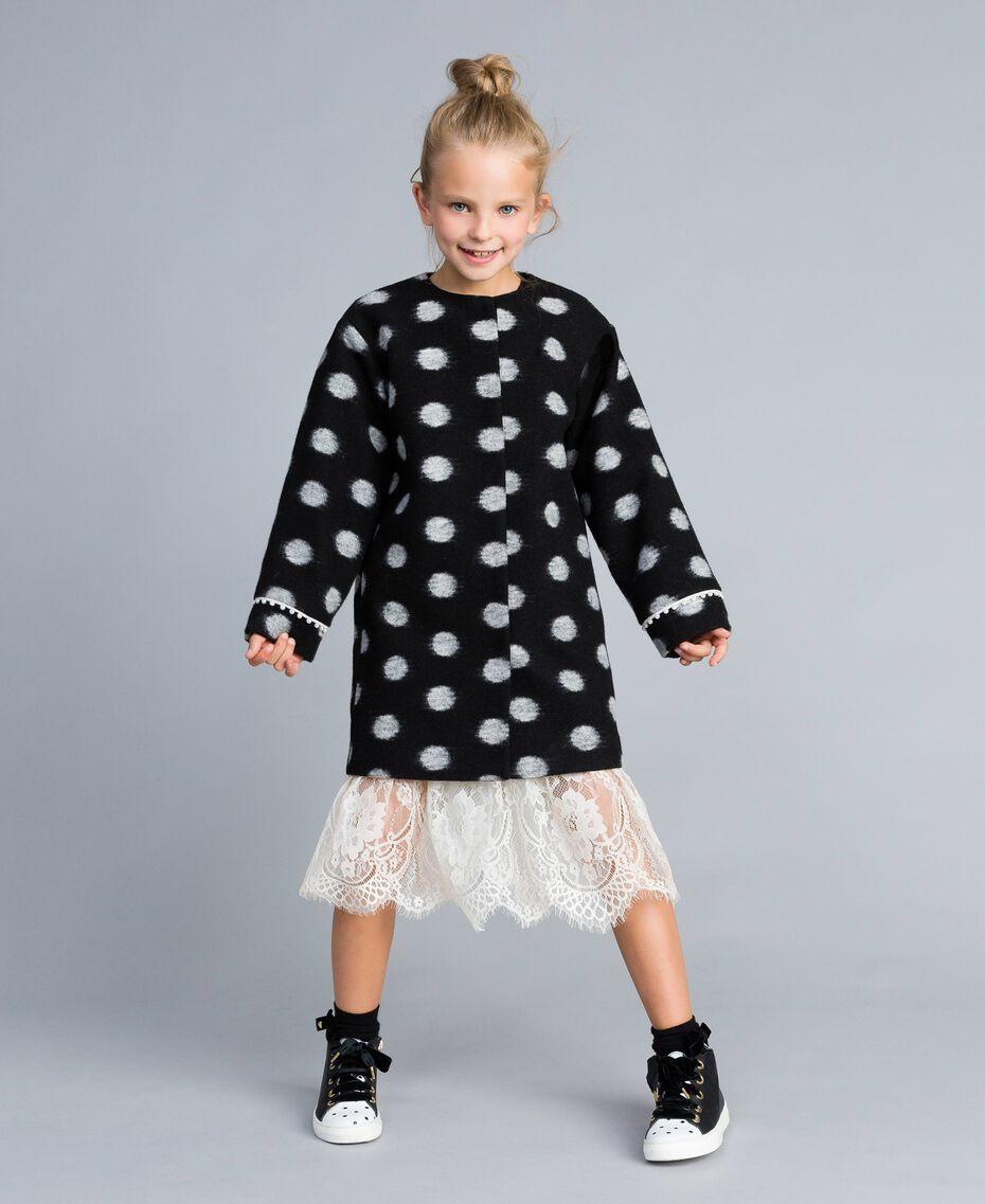 Manteau en drap à pois Imprimé Pois Noir / Blanc Cassé Enfant GA82CG-0S