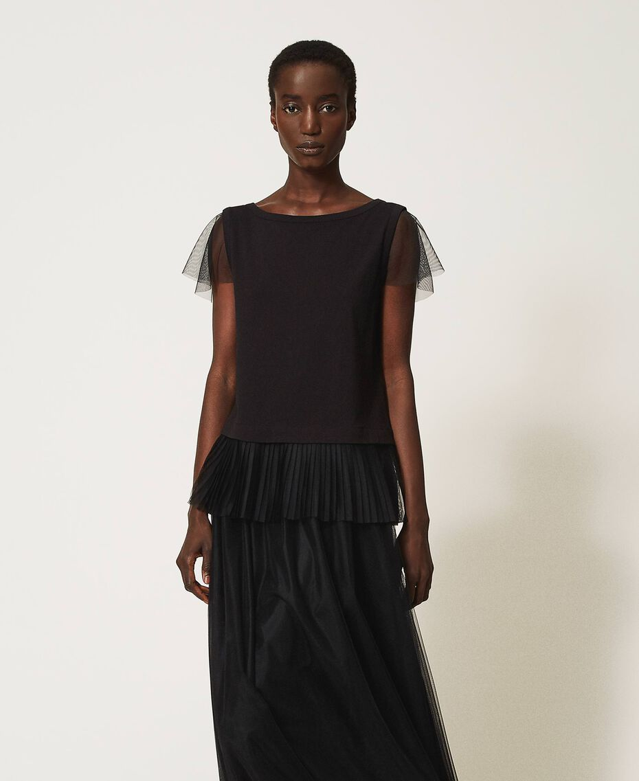 T-shirt with pleated flounce Black Woman 202MP2391-02