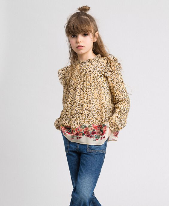 Floral and animal print georgette blouse