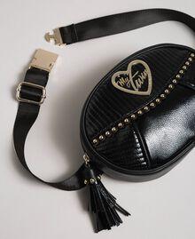 Поясная сумка из искусственной кожи с заклепками и кисточкой Черный женщина 192MO8015-01