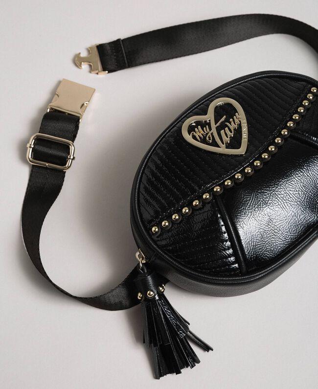 Borsa cintura in similpelle con borchie e nappa Nero Donna 192MO8015-01