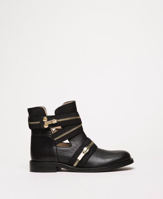 Leather biker boots with zip