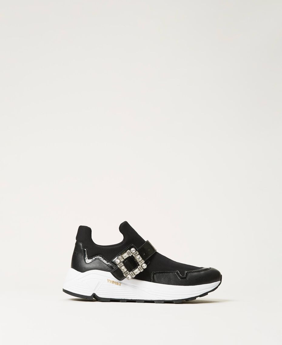 Running shoes with jewel buckle Black Woman 202TCP012-01