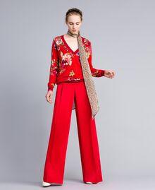 "Bedruckter Pullover aus Wolle mit Strass Print ""Red Garden"" Frau PA83KA-01"
