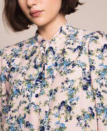 "Floral crêpe de Chine dress ""Quartz"" Pink Flowered Print Woman 201MP2374-05"