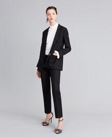 Cool wool drainpipe trousers Black Woman PA823P-0T